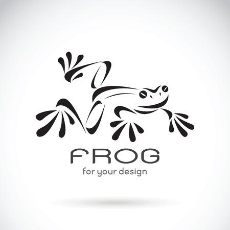 Immagine vettoriale di un disegno di rana su sfondo bianco, Logo rana. Animali selvaggi. Illustrazione vettoriale.