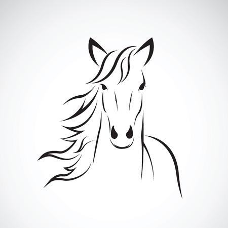 caballo: Imagen vectorial de un diseño de la cabeza de caballo sobre fondo blanco, logotipo del caballo. Animales salvajes. Ilustración del vector.