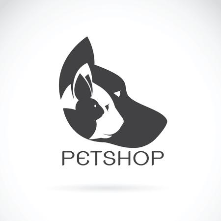 Vector Bild von Haustieren Design auf weißem Hintergrund. Petshop, Hund, Katze, Kaninchen, Tier Logo