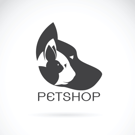 Vector image of pets design on white background. Petshop, Dog, Cat, Rabbit, Animal Logo