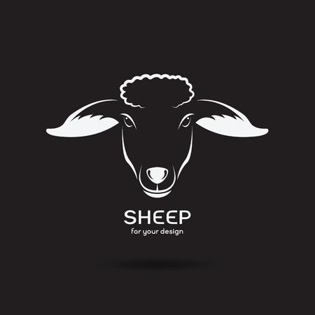 Vector image of a sheep head design on black background, Vector sheep logo. Farm Animals.