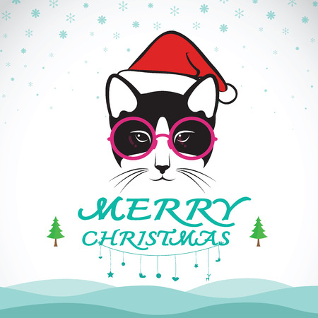 moggy: Vector merry christmas greeting cat card on white background. Illustration