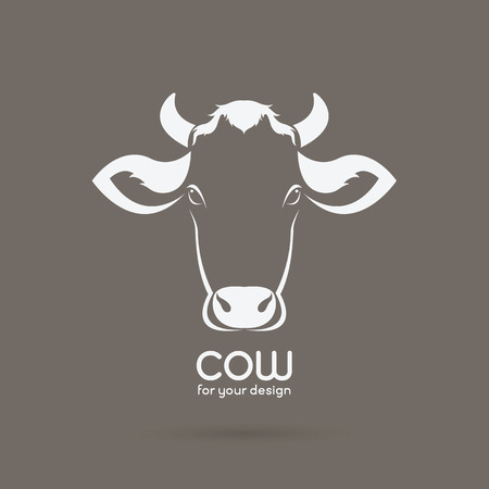 Vector of a cow head design on brown background. Farm Animal. Illustration