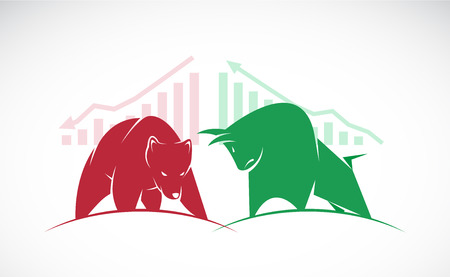 bullish market: Vector of bull and bear symbols of stock market trends. The growing and falling market.