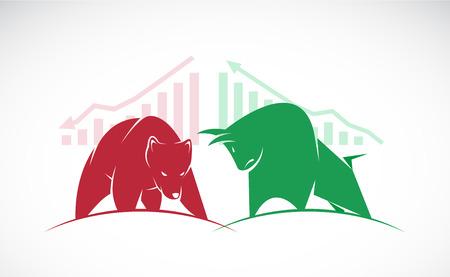 Vettoriali di toro e orso simboli di andamento dei mercati azionari. Il mercato in crescita e la caduta. Vettoriali