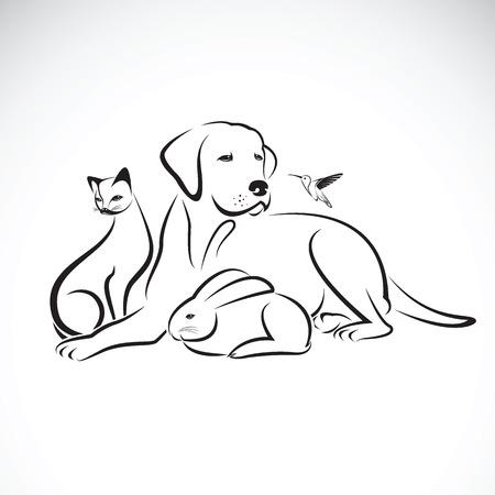 Vector groep van huisdieren op een witte achtergrond. Hond, Kat, zoemende vogel, konijn,