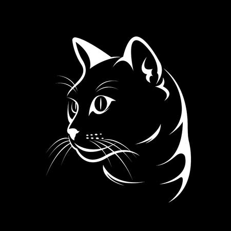 Vettoriale di un disegno del fronte del gatto su sfondo nero, illustrazione vettoriale. Animale domestico Archivio Fotografico - 72271121