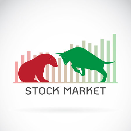 bearish business: Vector of bull and bear symbols of stock market trends. The growing and falling market. Wild Animals.