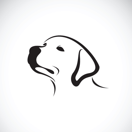 Vector of a dog head(Labrador Retriever) on white background, Pet. Animals.