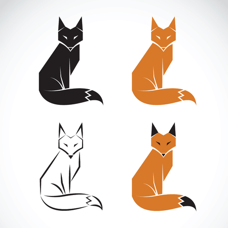 Vector group of fox design on white background. Fox icon. Wild Animals.