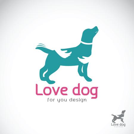 흰색 배경에 강아지를 포옹하는 인간의 손에의 벡터. 애완용 동물. 개 아이콘입니다.
