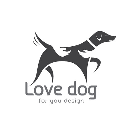Vector of human hand that hugs the dog on white background. Pet Animal. Dog Icon. Illustration
