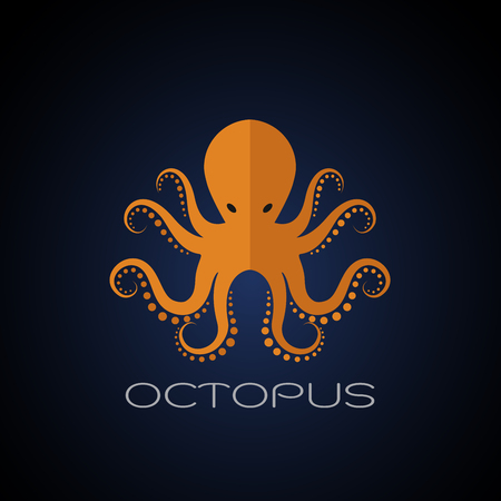 Vector of an octopus design on dark blue background. Aquatic animals.