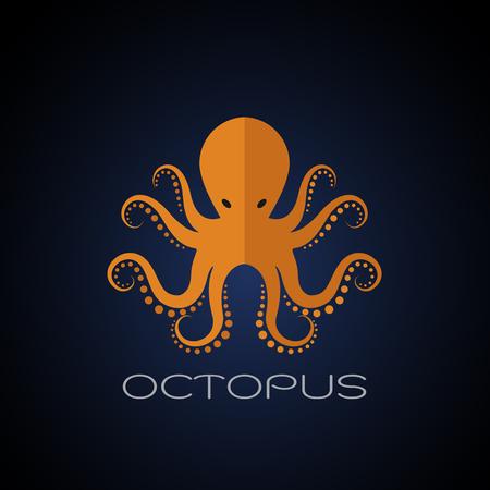 Vector of an octopus design on dark blue background. Aquatic animals.