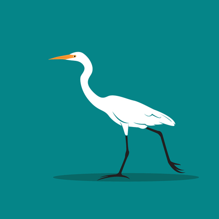 Vector of Heron or egret design (Ciconiiformes, Ardeidae) on blue background. Bird, Animals. Illustration