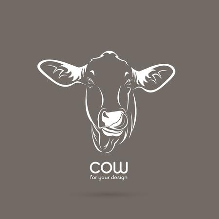 Vector of a cow head design on brown background, Vector cow logo. Farm Animals. 일러스트