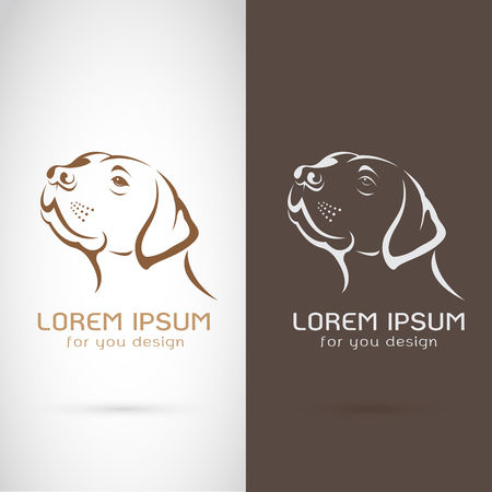 Vector of dog head design on white background and brown background, logo, symbol, label, animals Illustration