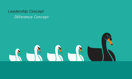 Vector of swan family on blue background., Leadership Concept and Difference Concept. Animal.  Illustration