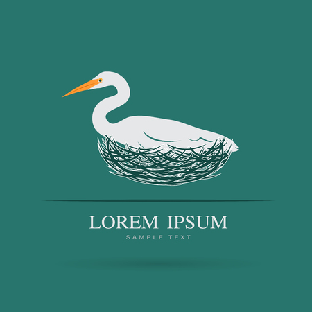 Vector of Egret bird is feeding its eggs in the nest on blue background. Bird Logo. Animal.