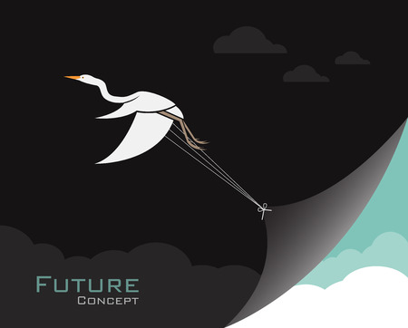 Vector of birds(Egret or Heron) changing reality. Future concept. Animal Concept.