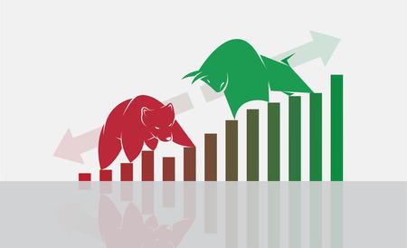 Vector de toro y oso símbolos de las tendencias del mercado de valores. El mercado en crecimiento y la caída. Animales salvajes.
