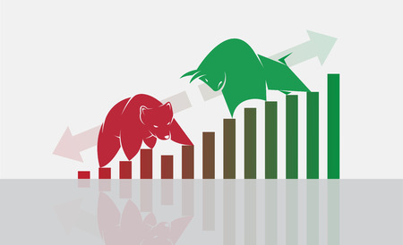 Vector of bull and bear symbols of stock market trends. The growing and falling market. Wild Animals.