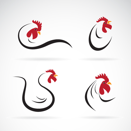 Vector of an chicken design on white background. Farm Animals. Rooster logo. Cock. Vettoriali