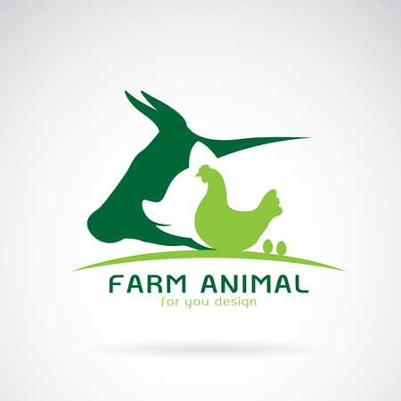 Grupa wektor etykiety farmy zwierząt., Krowa, świnia, kurczak, jajko. Logo zwierząt.