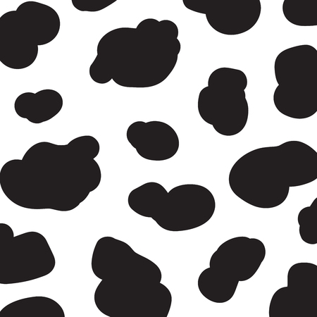 Cow pattern abstract background. Seamless pattern black and white cow skin. Vector illustration for design.