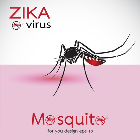 Mosquito Sucking Blood On Skin. Spread of zika and dengue virus. Stop Dengue fever with Mosquito. Zika Virus Outbreak. Easy editable layered vector illustration. Çizim