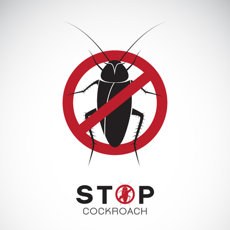 Vector of cockroach in red stop sign on white background. No cockroach. Insect prohibition sign. Animal. Easy editable layered vector illustration.