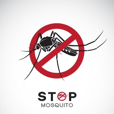 Vecteur de moustique en panneau d'arrêt rouge sur fond blanc. Insecte. Concept de prévention du virus épidémique. Illustration vectorielle en couches facilement modifiable.