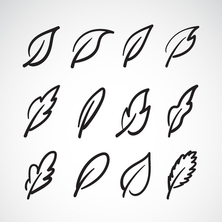 Vector leaves icon set on white background.Collection of leaf logo design. Easy editable layered vector illustration.