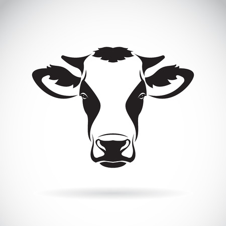 Vector of a cow head design on white background. Farm Animal. Easy editable layered vector illustration.  イラスト・ベクター素材