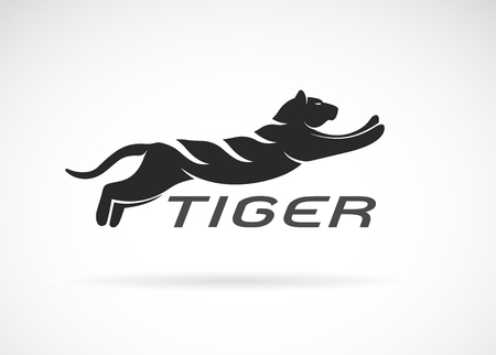 Vector of black tiger design on white background. Wild Animals. Easy editable layered vector illustration.
