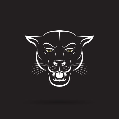 an angry panther head on black background.