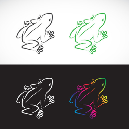 Vector of frogs design on white background and black background., Amphibian. Animal. Easy editable layered vector illustration.