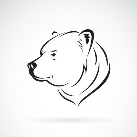 Vector de diseño de cabeza de oso sobre fondo blanco., Animales salvajes. Fácil ilustración vectorial editable en capas. Ilustración de vector