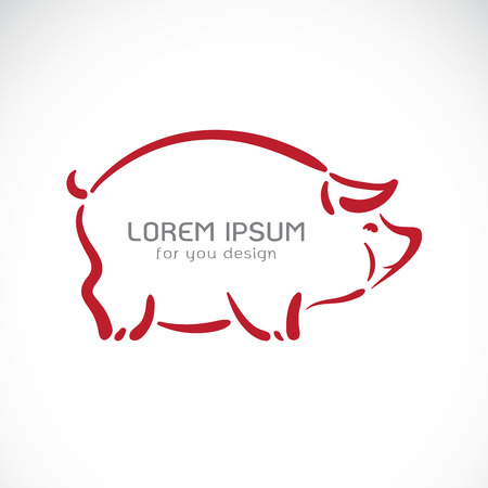 Vector of pig design on white background,. Farm animals. Easy editable layered vector illustration. Banque d'images - 105220927
