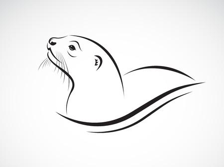 Vettore di Asian Otter, Aonyx cinerea o Oriental Small-artigliato Otter su sfondo whiet. Animali. Facile illustrazione vettoriale modificabile a strati.