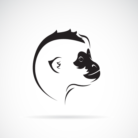 Vector of northern white-cheeked gibbon head design on white background. Wild Animals. Easy editable layered vector illustration. Vectores