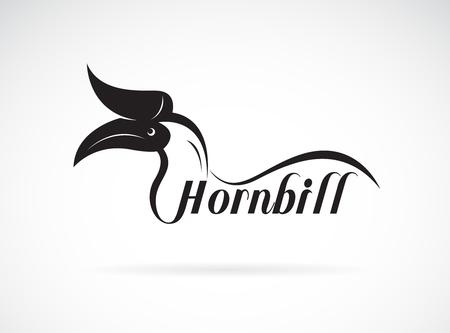 Vector of hornbill is text on white background., Wild Animals. Birds., Easy editable layered vector illustration. Vector Illustration