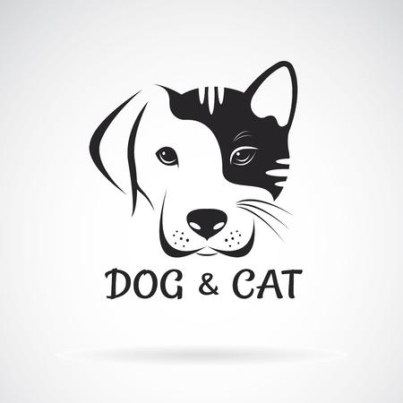 Vector de diseño de cara de perro y gato sobre un fondo blanco. Mascota. Animal. Fácil ilustración vectorial editable en capas.