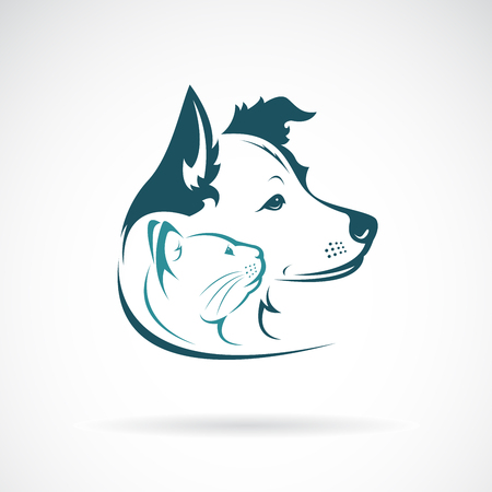 Dog and cat head design on a white background. Pet. Animal. Illustration