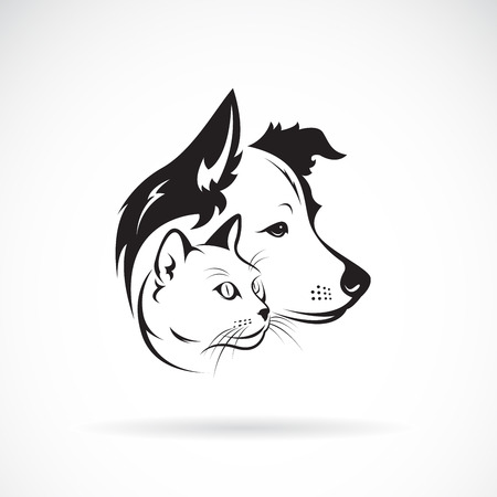 Dog and cat head design on a white