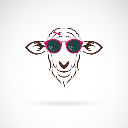 Vector of sheep wearing sunglasses on white Ilustracje wektorowe