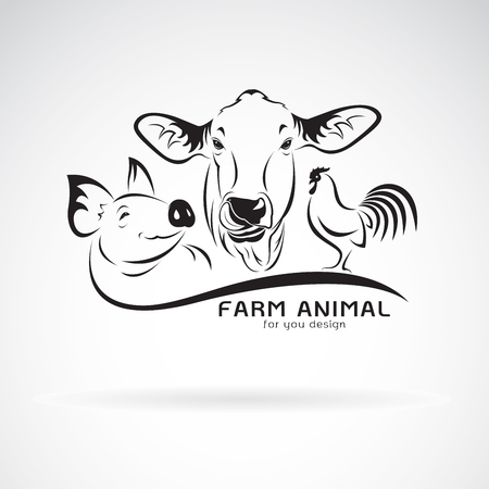 Vector group of animal farm label., Cow,pig,chicken. Logo Animal. Easy editable layered vector illustration.
