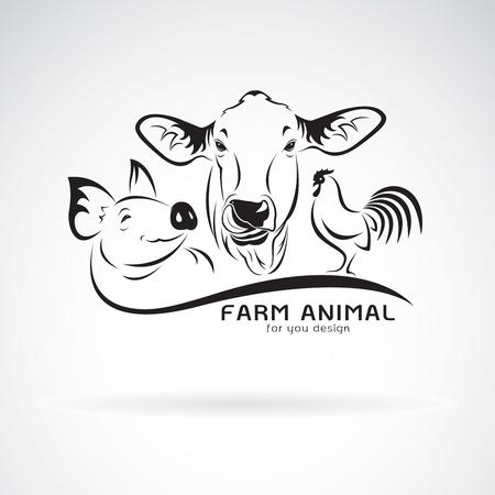 Vector group of animal farm label., Cow,pig,chicken. Logo Animal. Easy editable layered vector illustration.