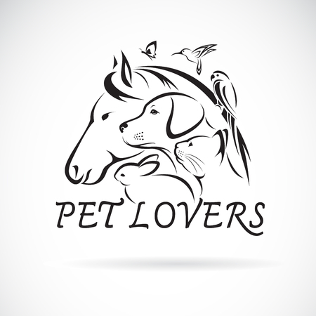 Vector group of pets - Horse, Dog, Cat, Humming bird, Parrot, Butterfly, Rabbit isolated on white background. Pet Icon or logo, Easy editable layered vector illustration. Stock Illustratie