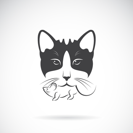 Vector of cat catches a rat in the mouth on a white background, Animal. Pet. Easy editable layered vector illustration.  イラスト・ベクター素材